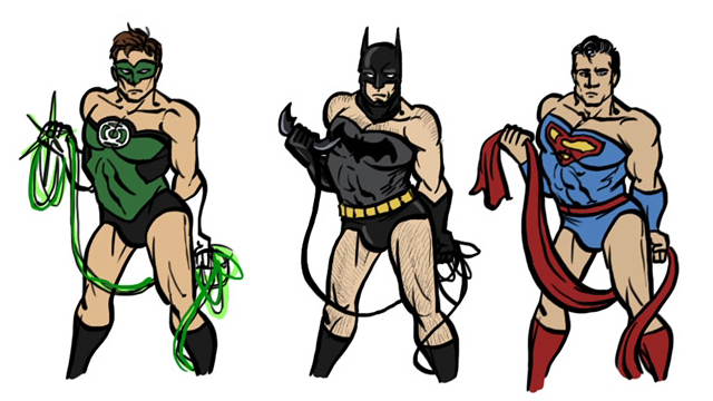 Image of male superheroes posing like wonder woman