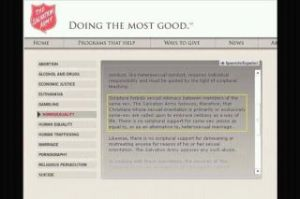 web page for salvation army