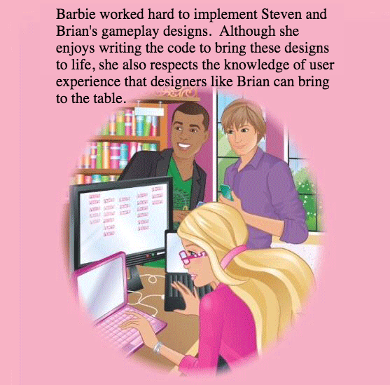 Barbie, wearing glasses and flowing blonde hair, sits at a computer; the screen is showing multiple lines of computer code. Two young men stand beside her smiling.