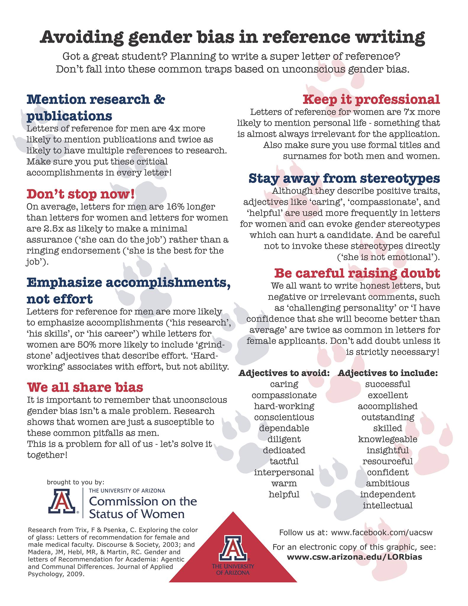 gender bias in academe an annotated bibliography of important suggestions for avoiding gender bias in letters of recommendation produced by the university of arizona commission on the status of women